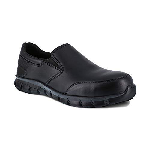 Reebok Work Men's Sublite Cushion Work Safety Toe Athletic Slip-on, Black, 14