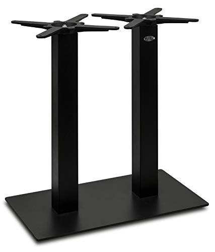 Tischgestell doppelt schwarz | DUBLINO PJ7092 | Doppelsäule | Metall (Stahl) | Tischsäule rechteckig mit 70x40 cm Bodenplatte