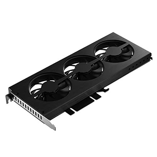 Valcano Ventilador para tarjetas gráficas con 3 ventiladores, soporte con efecto RGB, placa base Aura para NVIDIA GTX/AMD