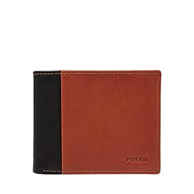 Fossil Men's Ward Leather RFID Blocking Bifold Flip ID Wallet, Black