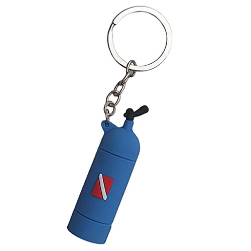 Hellery Novelty Diving Tank Key Chain Air Cylinder Keychain Keyring Holder Pendant Gift - Blue