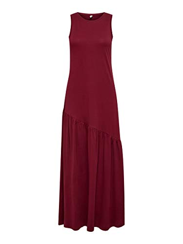 ONLY Damen ONLMAY Life S/L Maxi Volume Dress JRS Kleid, Pomegranate, M