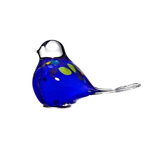 Cristalica Gartenvogel Taube Gerda Glastier Gartendeko Glas Blau 15 cm mit Stab