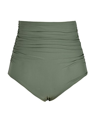 Mycoco Women's High Waisted Bathing Bikini Bottom Shirred Swim Bottom