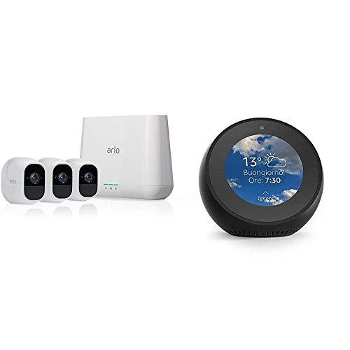 Echo Spot nero + Arlo Pro 2 VMS4330P Telecamera di Sicurezza Wifi, Opzione Alimentazione Cablata e Piani di Registrazione 24/7, Full HD, Batteria Ricaricabile, Audio a 2 Vie, Kit 3 Telecamere