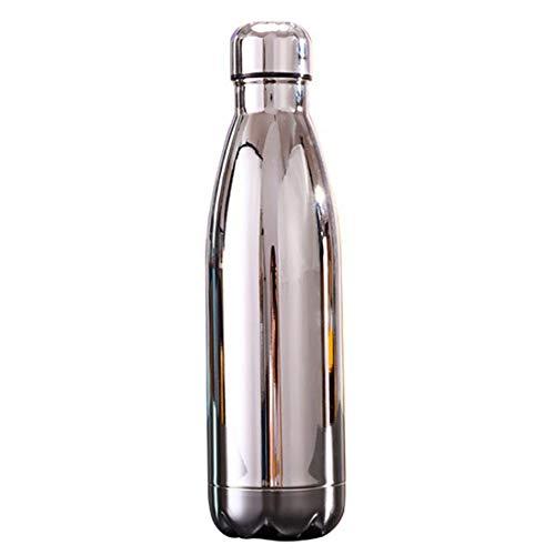 Jiacheng29_ Botella de agua deportiva, 500 ml cielo estrellado/chapado de acero inoxidable aislado botella de agua deporte frasco taza plateado