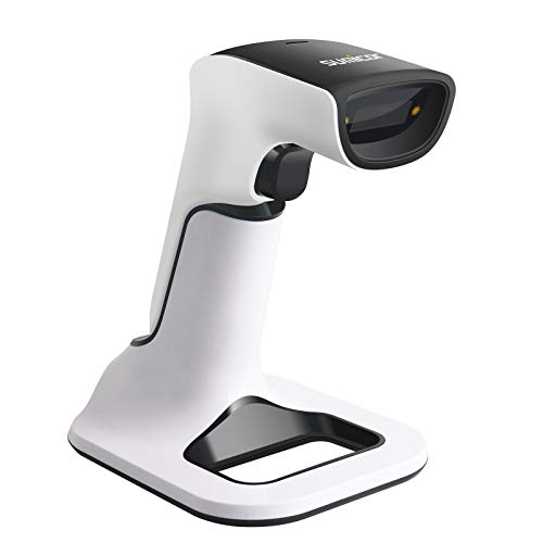 Sumicor 2D Bluetooth Barcode Scanner with Stand, 3 in 1 Compatible with Bluetooth & 2.4GHz Wireless & Wired Connection, Cordless QR Code Scanner, Connect Smart Phone Tablet PC USB Image