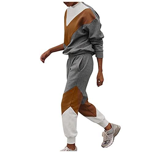 Dasongff - Conjunto de ropa deportiva para mujer, 2 piezas, camiseta de manga larga, sudadera y pantalón de chándal