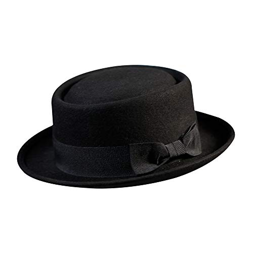 "Pork Pie Hat 100% Wool Felt Men's Porkpie Breaking Bad Hats Flat Top Mens Fedora(L:7 3/8-23 1/4"", Black)"