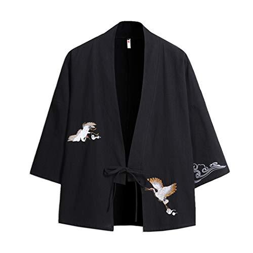 MISSMAOM_Fashion2019 Herren Baumwolle Haori V-Kragen Kimono-Jacke,Schwarz,3XL