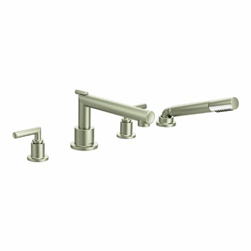 Moen TS93004BN Arris 2-Handle Deck Mount Modern Roman Tub Faucet Trim Kit, Valve Required, Including Single Function Handshower, Brushed Nickel