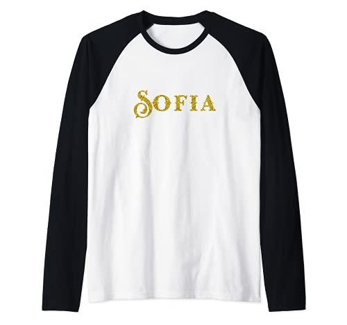 Sofia nombre oro, regalo cumpleaños la niña personalizado Camiseta Manga Raglan