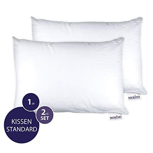 MERINO BETTEN Premium Kopfkissen 50x80 Set | Couchkissen | Kissenhülle versteppt ohne Reißverschluss | Serie Standard