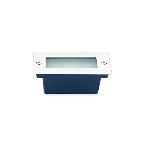 LineteckLED® - 020551 - Segnapasso LED 7W Rettangolare da Incasso per Esterno IP65 Argento Spazzolato Impermeabile e Calpestabile 110x45mm Luce Naturale 4500K 220V Angolo Luce 45°