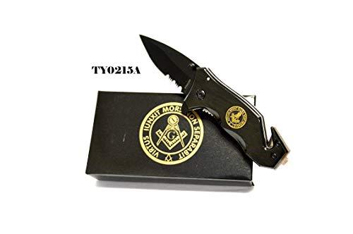 LINDCORP Black Masonic Folding Rescue Pocket Knife Masons