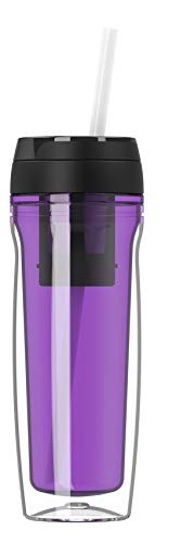 Botella de agua de alta calidad, 500 ml, para café y té, aislada para bebidas calientes y frías, colador de té, pajitas de frutas, lila