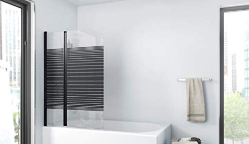 MARWELL BLACK LINES Badewannenaufsatz 100 x 140 cm 2-teilig faltbar - aus 4mm starken Einscheibensicherheitsglas, matt schwarzes Design