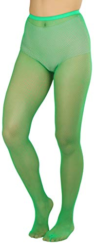 ToBeInStyle Women's Sexy Vibrant Fine Classic Fishnet Full Footed Pantyhose - Kelly Green - One Size Regular
