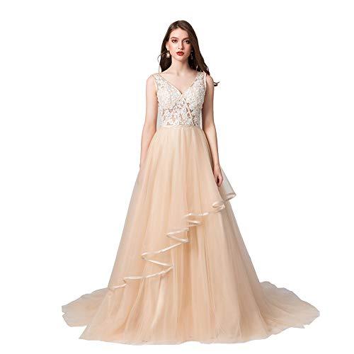 Datangep Women's Double V-Neck Lace Applique Empire Chapel Train Wedding Dress