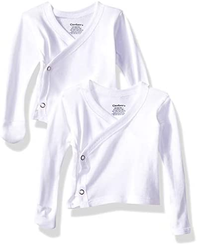 Gerber Baby 6 Pack Long Sleeve Side Snap Mitten Cuff Shirt white Newborn product image