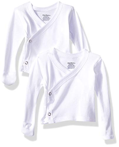 Gerber Baby 6-Pack Long-Sleeve Side-Snap Mitten-Cuff Shirt, White, 0-3 Months