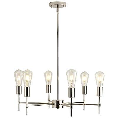 XILICON Brushed Nickel Sputnik Chandelier Mid Century Industrial Pendant Lighting 6 Lights Vintage Ceiling Light Fixture