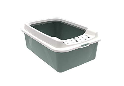 Rotho Bonnie niedriges Katzenklo mit Top-Eingang, Kunststoff (PP) BPA-frei, grün/weiss, M (57,2 x 39,3 x 20,9 cm)