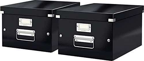 Leitz, Mittelgroße Aufbewahrungs- und Transportbox, Mit Deckel, Für A4, Click & Store (Schwarz, Mittel | 2er Pack)