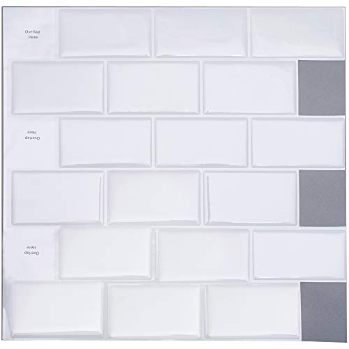 Profesticker Peel and Stick Tile Sticker Self-Ahdesive 3D Stick On Tile Wallpaper Heat Resistant Waterproof Backsplash Kitchen Bathroom (12Inches) (6Tiles) (White Brick)