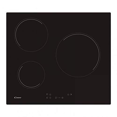 Candy CH63CC Encimera vitrocerámica 3 zonas de cocción, ancho 60 cm, 10 niveles potencia, 5.5 kW, negro