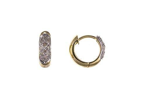 Pendientes de oro amarillo para hombre con diamantes auténticos – fabricado en Reino Unido – con sello