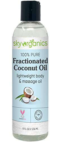 Fractionated Coconut Oil by Sky Organics (8 oz) Natural Fractionated Coconut Oil MCT Oil Moisturizing Coconut Carrier Oil Body Oil Coconut Makeup Remover Coconut Oil for Hair Skin DIY Fragrance Free