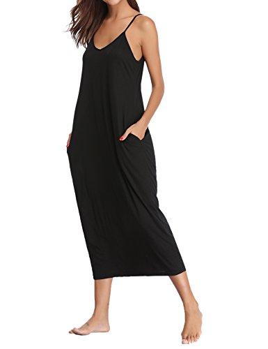 Aibrou Damen Baumwolle Lose Lange Nachthemd mit Verstellbare Träger Schwarz M