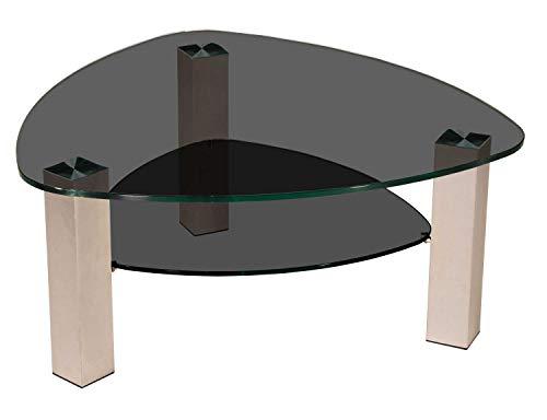 tischdesign24 Lindau727-A Couchtisch mit 12mm Glasplatte in Wankelform. Gestell mit Rollen. Tischplatte 90x90cm Wankelform Parsolglas - Parsolglas Ablage Gestell: Edelstahlgestell 80x80mm - 49cm Höhe