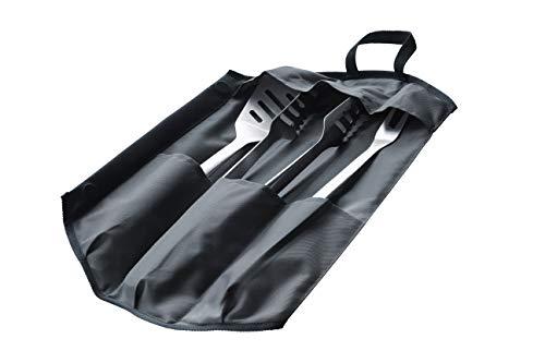 Enders® Premium GRILLBESTECK Edelstahl 3-Set INKL 8786 Grillzange, Grillwender, Grillgabel, faltbare Tasche, Grill-Zubehör, Gasgrill BBQ, schwarz