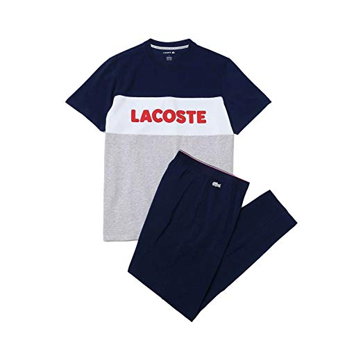 Lacoste Herren 4H9925 Men's Pajamas, Argent Chine/Marine-Blanc, M