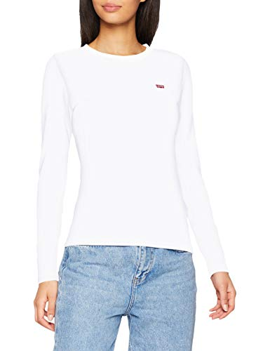 Levi's LS Baby Tee T-Shirt, White +, S Donna