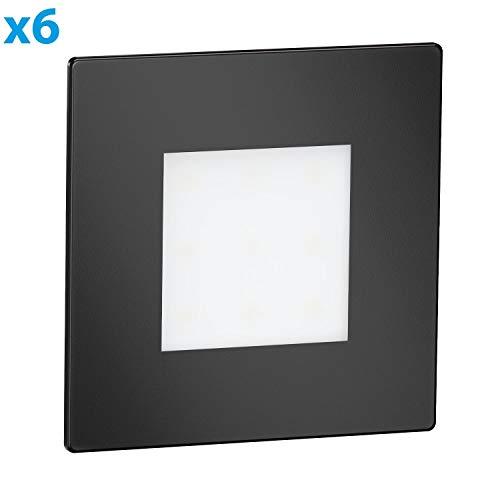 ledscom.de LED Treppen-Licht FEX Wand-Einbauleuchte, schwarz, eckig, 8,5x8,5cm, 230V, warmweiß, 6 Stk.