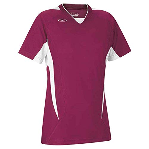 Xara Women's Fit Hawthorne Soccer Jersey, Maroon/White - Adult Medium