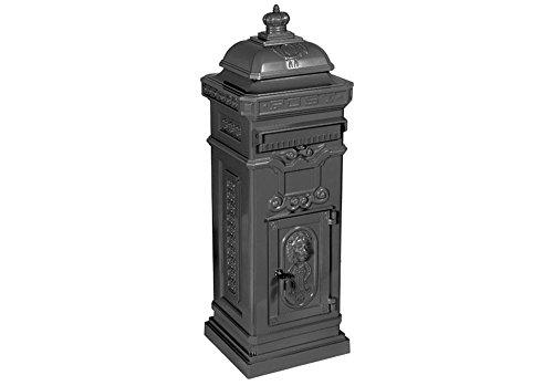antiker englischer Standbriefkasten Modell: Luna, Farbe: grau, Material: Aluminium, Höhe: 102cm, Standbriefkasten Briefkasten Postkasten Antik Retro Jugendstil freistehend Nostalgie Standpostkasten