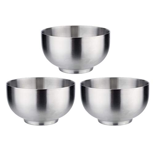 MagiDeal 3 PCS Bowls Soup Rice Dish Snack Serving Bowl Set 304 Stainless Steel for Kids Toddlers