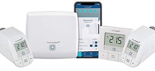 Homematic IP Access Point - Smart Home Gateway mit kostenloser App und Sprachsteuerung über Amazon Alexa + 2x Heizkörperthermostat – basic, Push-To-Pair + Wandthermostat – basic, Push-To-Pair