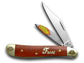 Frost Family 40th Anniversary Dark Red Smooth Bone 1/600 Little Peanut Pocket Knife Knives