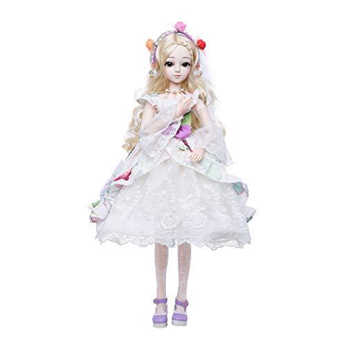 POXL BJD Puppe 1/3, BJD Doll Voller Satz mit Make-up und Vollem Kostüm Kugelgelenk DIY Modepuppen