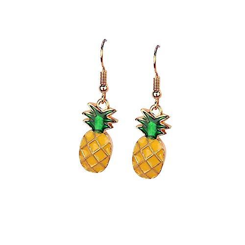 duoying 2 pendientes pequeños con diseño de frutas frescas, pendientes de tuerca, con clip para orejas, diseño de estrellas, manzana.