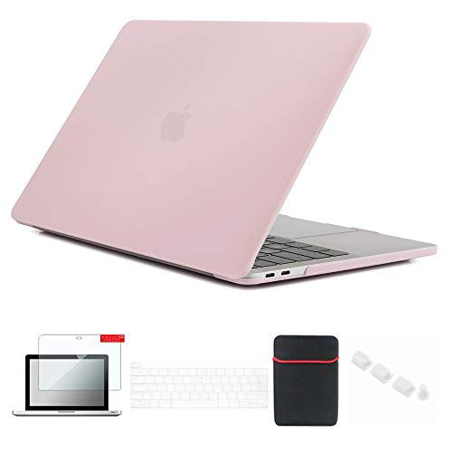 Se7enline MacBook Pro Case 13 inch 2020/2019/2018/2017/2016 Laptop Cover for MacBook Pro 13'' Model A2251/A2289/A1706/A1989/A2159 with Sleeve, Keyboard Cover, Screen Protector, Dust Plug,Rose Quartz