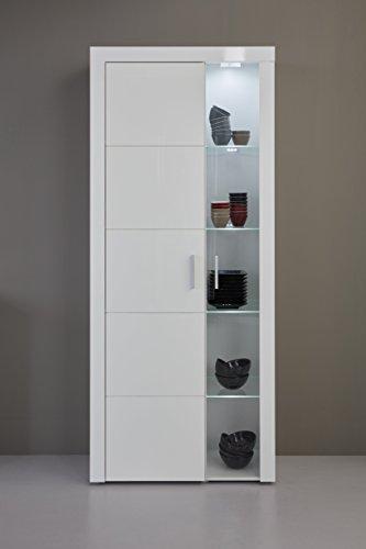 trendteam Wohnzimmer Vitrine Schrank Wohnzimmerschrank Kito, 81 x 200 x 34 cm in Korpus Weiß, Front Weiß Glanz inklusive Beleuchtung