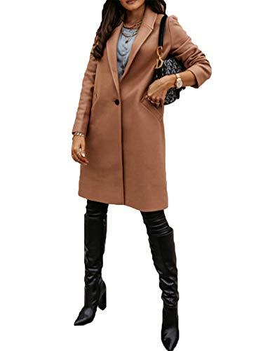 Chaqueta de manga larga de color sólido para mujer, chaqueta de punto frontal abierto con bolsillos