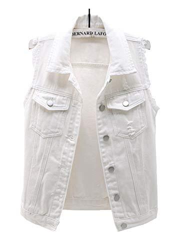 CYSTYLE Damen Jeansweste Ärmellos Frühling Sommer-Weste College Style Beiläufige Jeansweste Denim Weste mit Loch Design (Weiß, S)