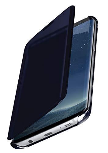 moex Dünne 360° Handyhülle passend für Samsung Galaxy S8 | Transparent bei eingeschaltetem Display - in Hochglanz Klavierlack Optik, Blau